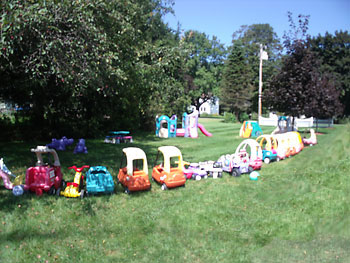 day care toys on lawn