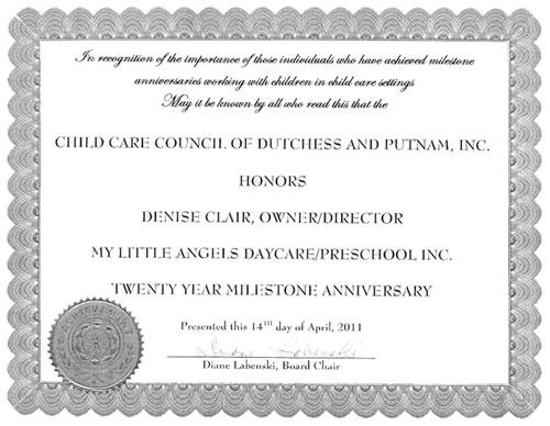 Day Care Award by Dutchess County